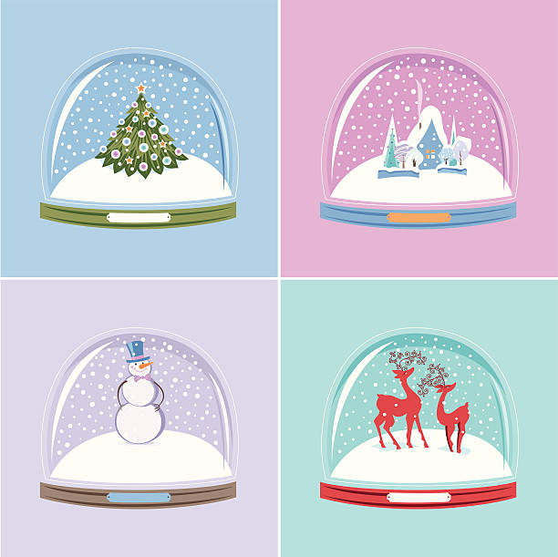 Set of Snow Globes vector art illustration