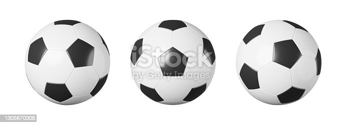 istock Set of soccer ball or football with different view on white isolated background . Simple design . Sports equipment concept . 3D rendering . 1305670308