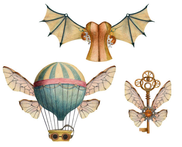 Set of steampunk elements with air balloons, wings, keys, glasses, corset. Set of steampunk elements with air balloons, wings, keys, glasses, corset. Hand drawn colored pencil illustration. corset stock illustrations