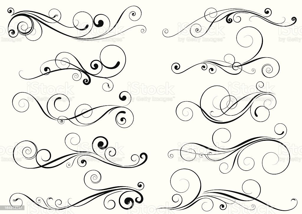Set of swirl design elements vector art illustration