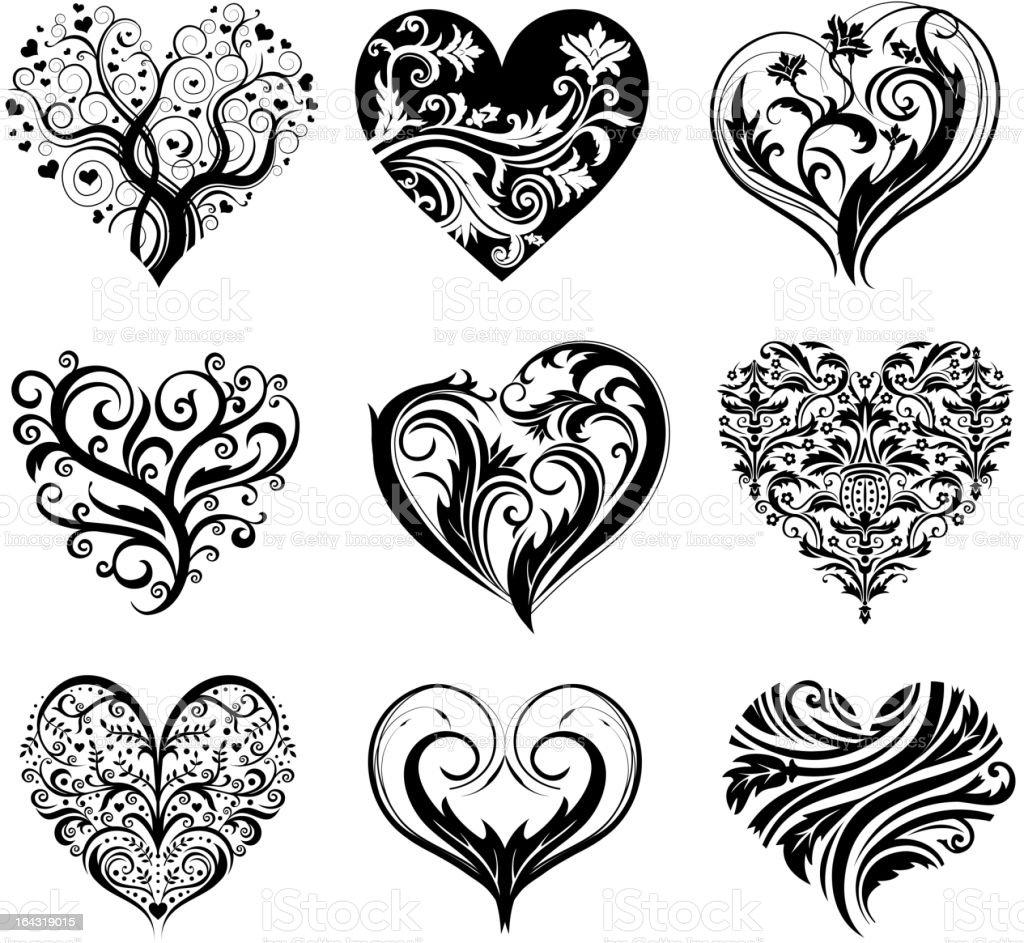 Ensemble De Tatouage Coeur Cliparts Vectoriels Et Plus D Images De