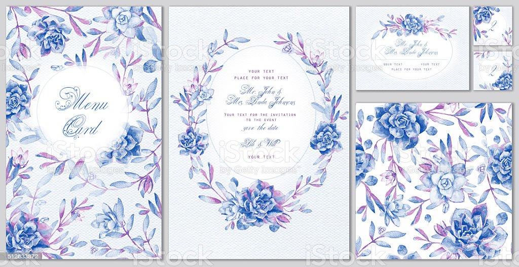 Conjunto de plantillas de celebración, boda o corporativo estilo. - ilustración de arte vectorial