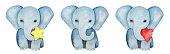 Set of three little baby elephants.