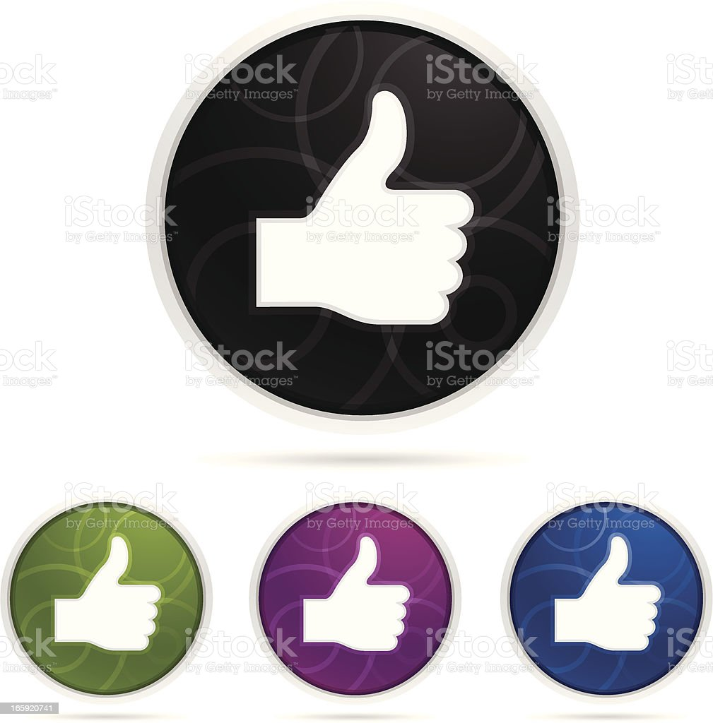 Set of thumbs up icons vector art illustration