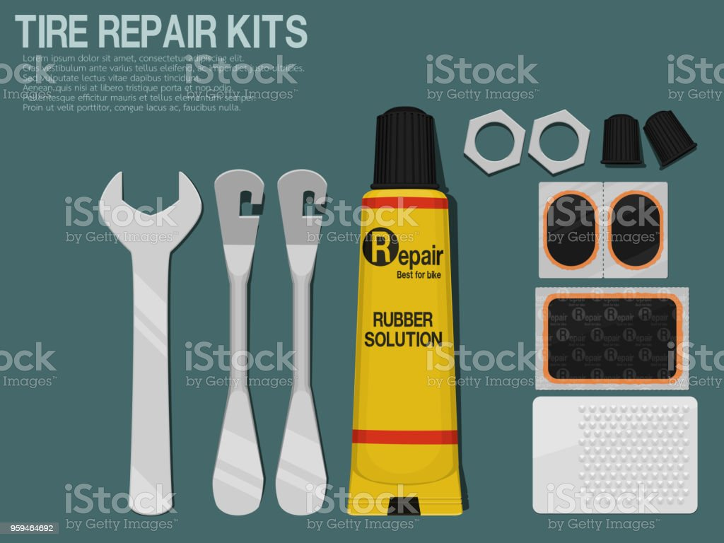Set of Tire repair kits on blue background vector art illustration