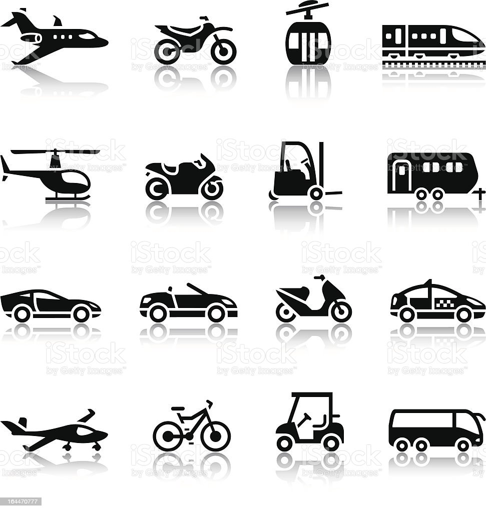 Set of transport icons vector art illustration