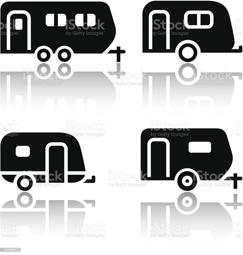 Set of transport icons - trailers vector art illustration