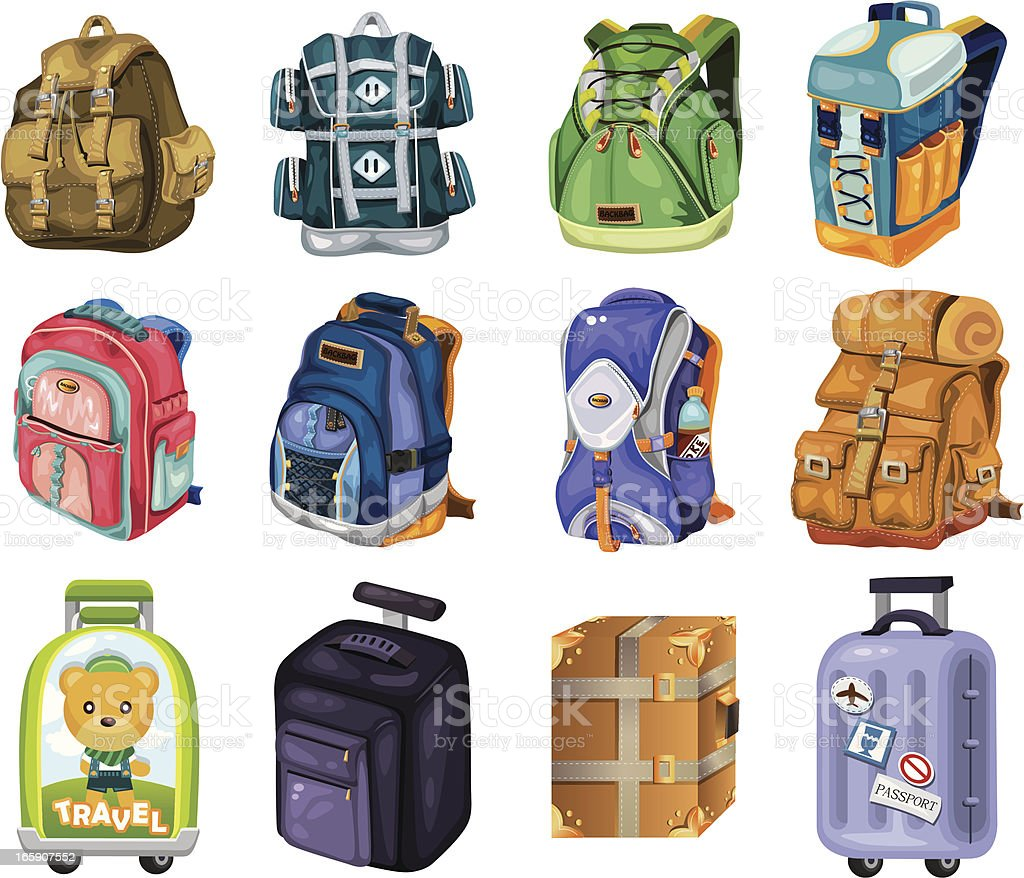 set of travel bag vector art illustration