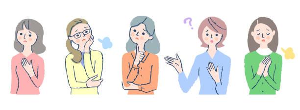 ilustrações de stock, clip art, desenhos animados e ícones de a set of troubled facial expressions of various women - mão no peito