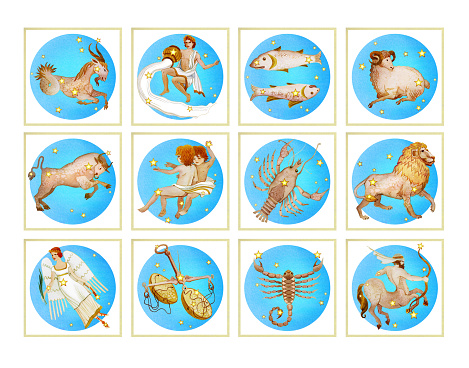 Set of twelve signs of the zodiac