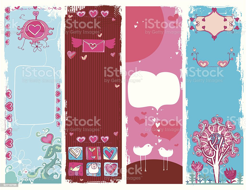 Set of Valentine's day grunge banners royalty-free set of valentines day grunge banners stock vector art & more images of abstract