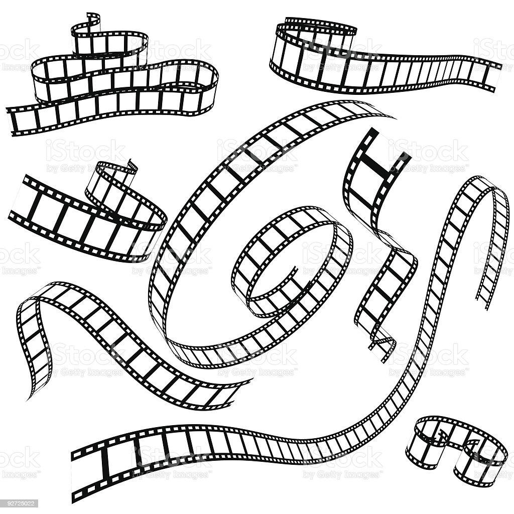 set of various film strips vector art illustration