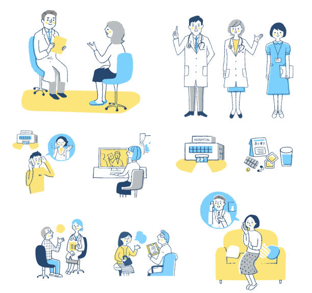 Set of various scenes of patients consulting with medical institutions Medical, disease, illness, people, healthcare biomedical illustration stock illustrations