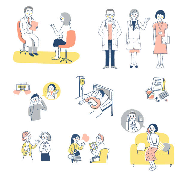 illustrazioni stock, clip art, cartoni animati e icone di tendenza di set of various scenes of patients consulting with medical institutions - solo giapponesi
