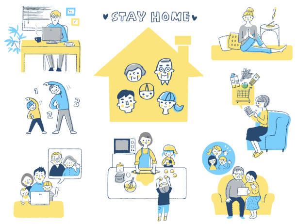 ilustrações de stock, clip art, desenhos animados e ícones de set of various stay at home scenes - somente japonês