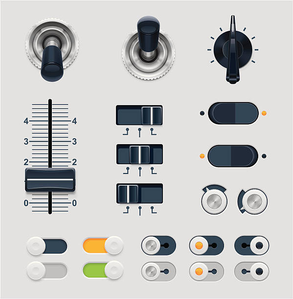 "Set of vector illustration dials ""Set of the detailed switches, knobs, sliders and buttons"" knob stock illustrations"