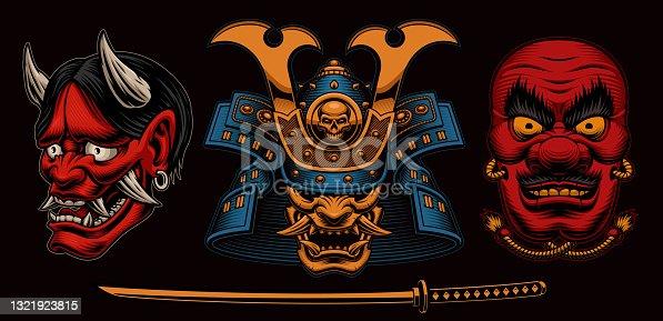 A set of vector illustrations Japanese masks