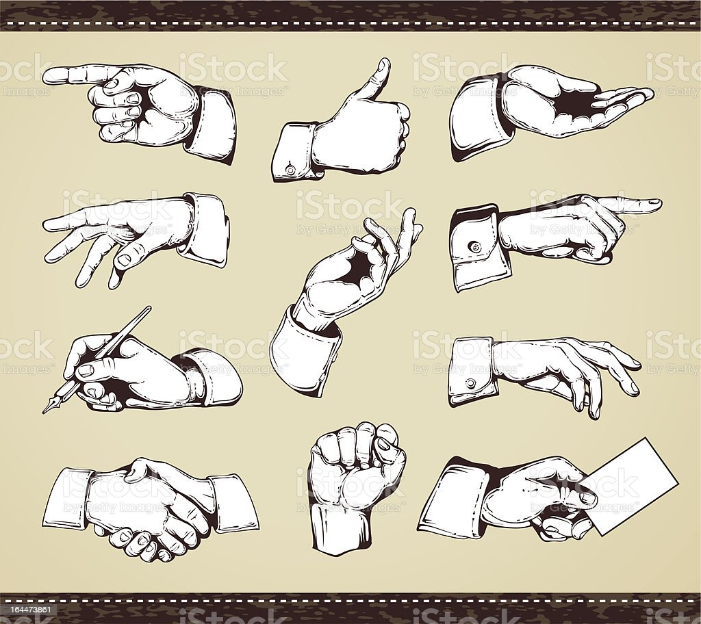 Set of vintage hands vector art illustration