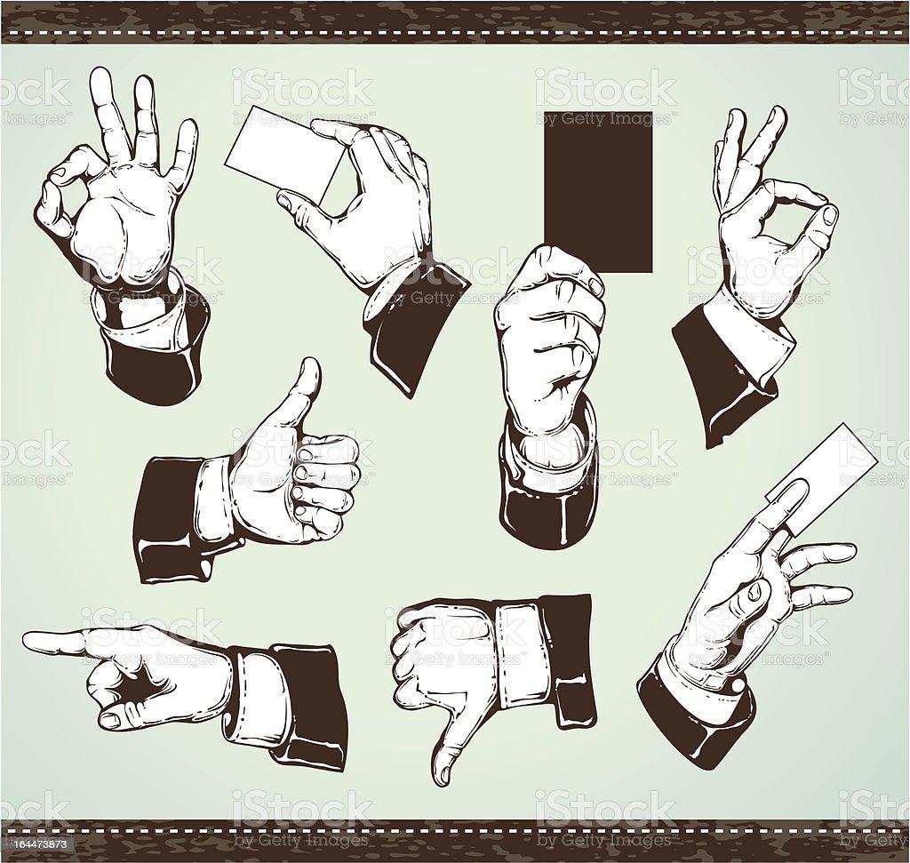 Set of vintage hands vector art illustration