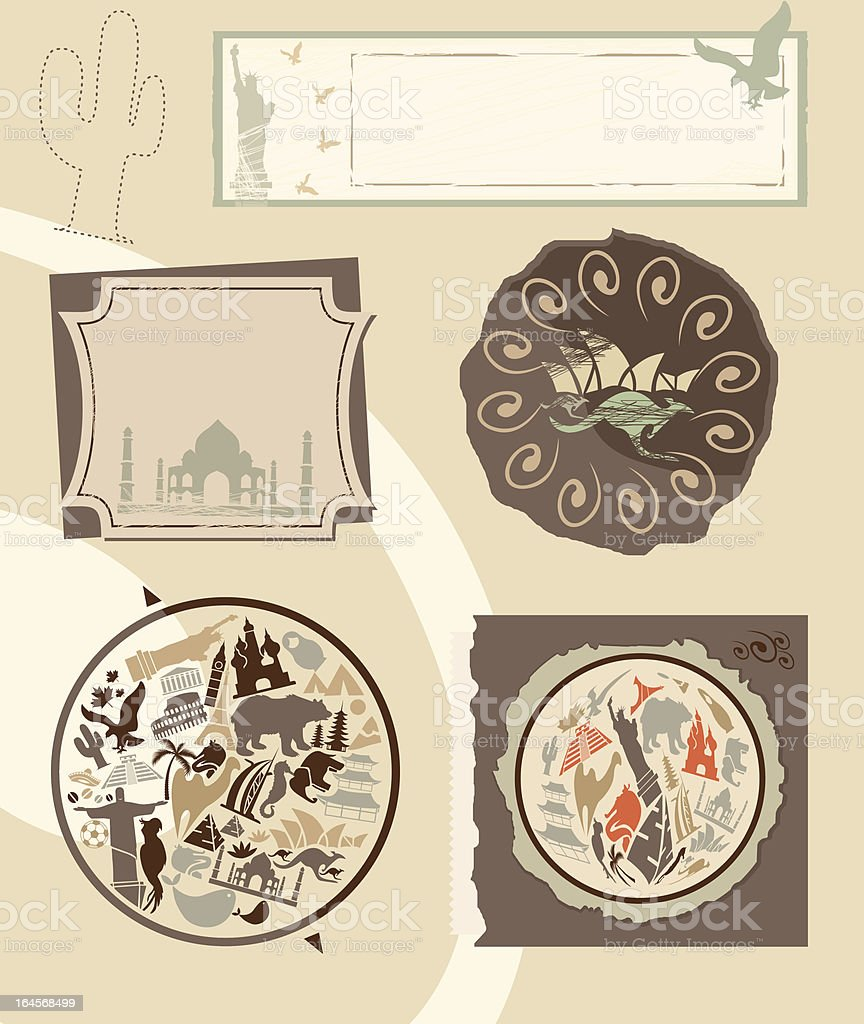 Set of vintage labels with landmarks royalty-free stock vector art