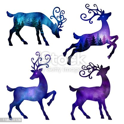 set of violet blue watercolor deer silhouettes, isolated on white background. Christmas reindeer ornaments with wild forest and night sky design inside.