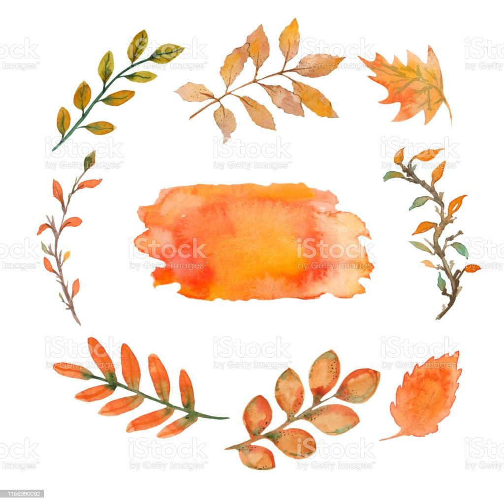 Set Of Watercolor Autumn Leaves Yellow Fallen Leaves Are
