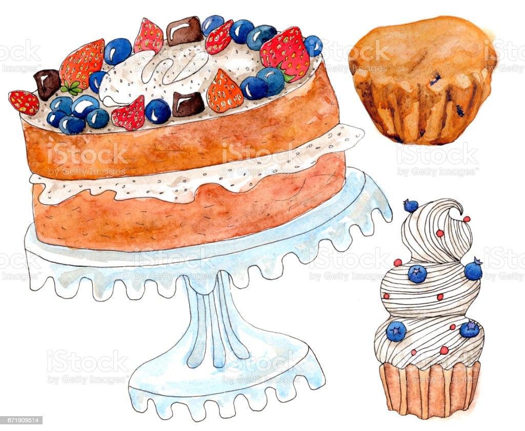 Satz Von Aquarell Kuchen Auf Weiss Stock Vektor Art Und Mehr Bilder