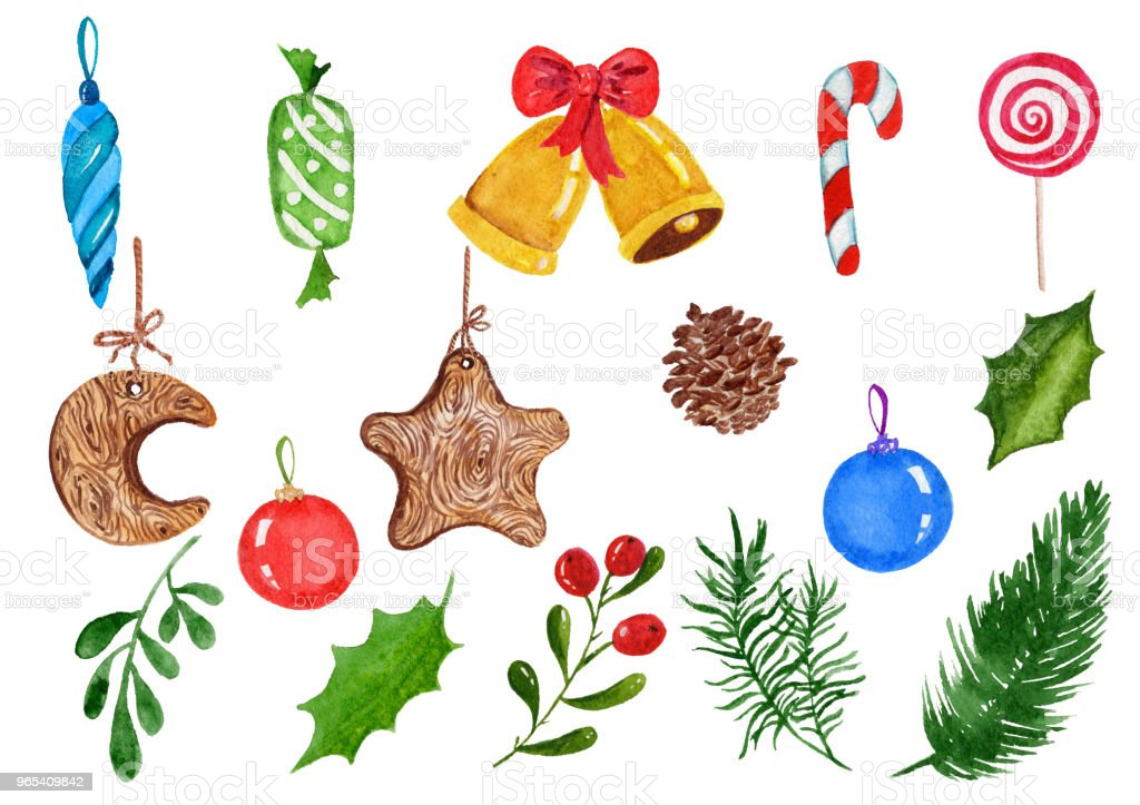 Set of watercolor Christmas decorations. Watercolor elements on a white background. royalty-free set of watercolor christmas decorations watercolor elements on a white background stock vector art & more images of backgrounds