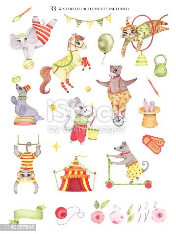 Set of watercolor circus elements animals bear on unicycle, elephant on ball, horse, tiger jumping, seal, dog on scooter, mouse, monkey, tent tickets mace, clown nose isolated on white background