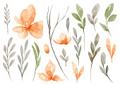 istock Set of watercolor Flower and green leaves 1194001683