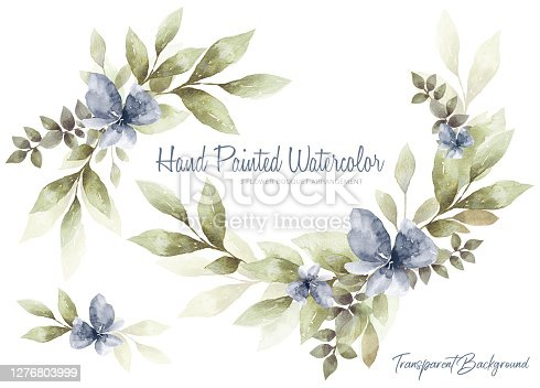 istock Set of watercolor Flower and green leaves 1276803999