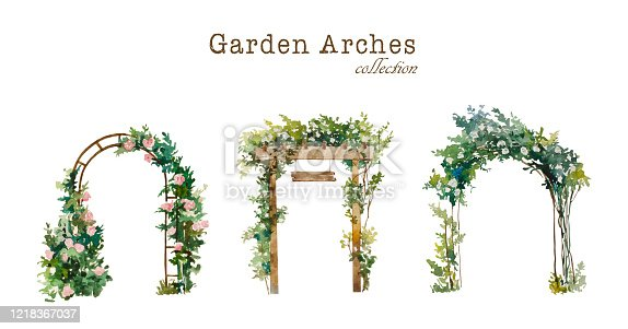 Set of watercolor garden arches , wooden and metal, with blooming white and pink roses. Original illustration for wedding environment and landscape design, isolated on white background