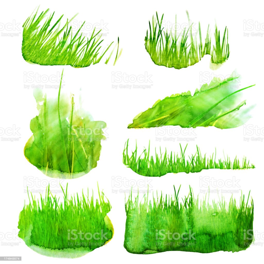Set of watercolor grass illustration royalty-free set of watercolor grass illustration stock vector art & more images of art and craft
