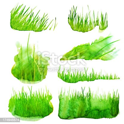 Set of watercolor grass illustration stock vector art for Set painting techniques