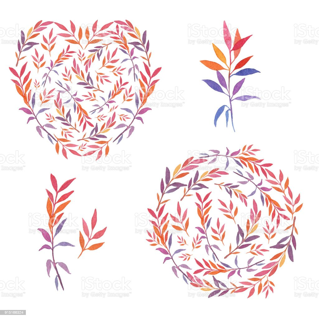 Set Of Watercolor Handdrawn Circle And Heart Shaped Templates With