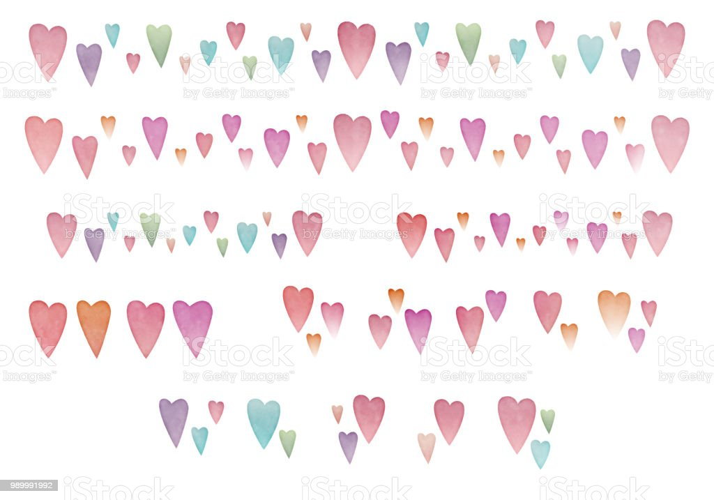 Set of watercolor painting heart icon and line royalty-free set of watercolor painting heart icon and line stock vector art & more images of analog
