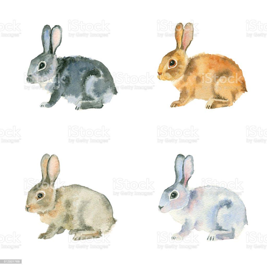 Set of watercolor rabbits. vector art illustration