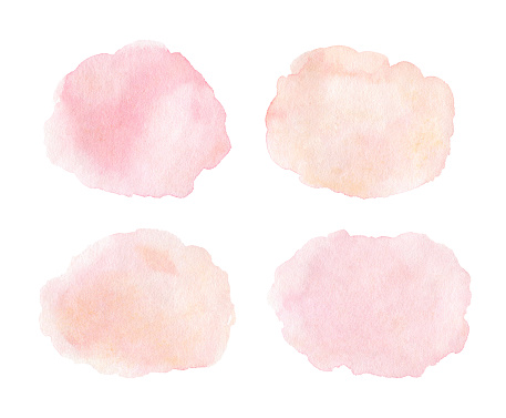 Set of watercolor stains in pastel shades