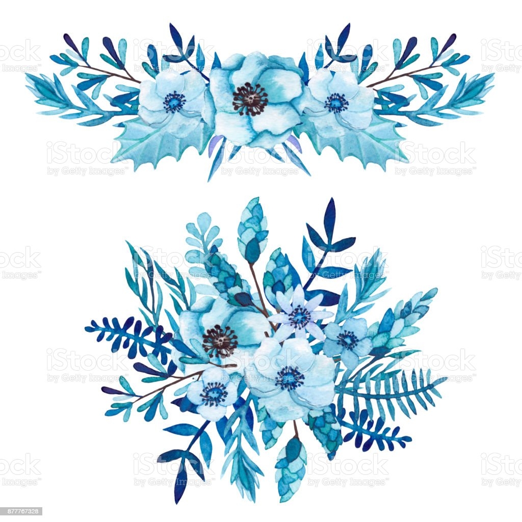 Set Of Watercolor Winter Bouquets With Flowers Stock Vector Art ...