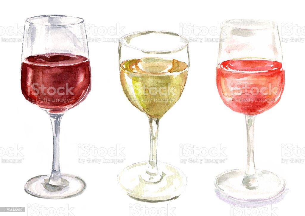 Set of watercolour wine glasses on white background vector art illustration
