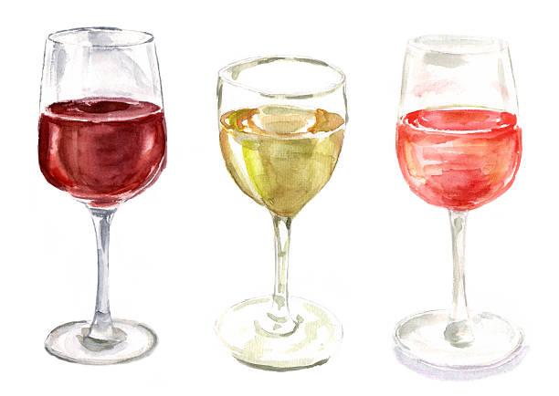 bildbanksillustrationer, clip art samt tecknat material och ikoner med set of watercolour wine glasses on white background - vitt vin glas