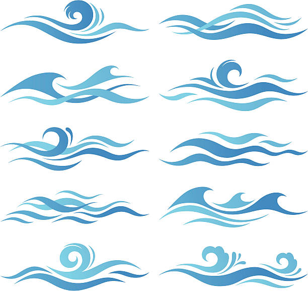 set of waves - blue clipart stock illustrations