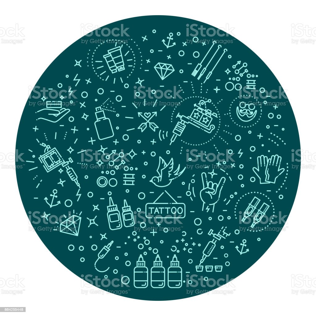 Set of web line icons - tattoo salon royalty-free set of web line icons tattoo salon stock vector art & more images of atm