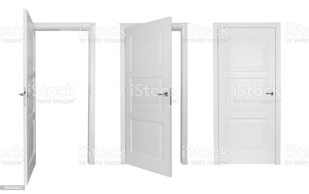 Set of white doors vector art illustration