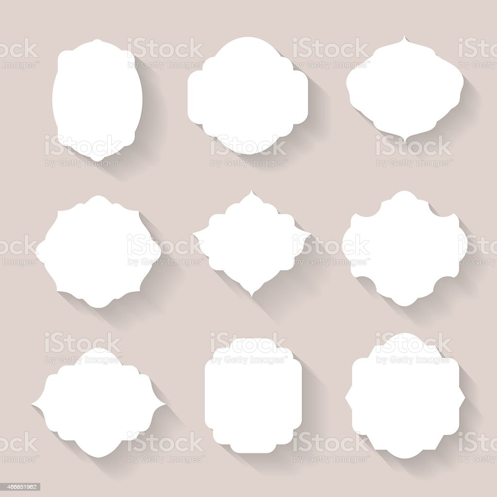 Set of  white silhouette frames  or cartouches for badges vector art illustration