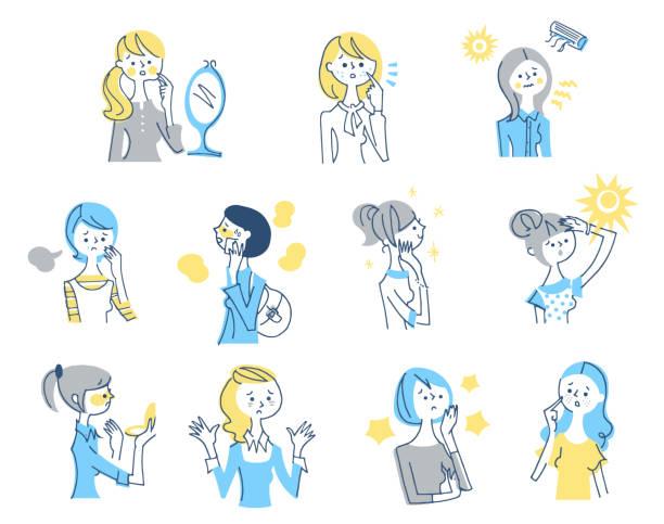 illustrations, cliparts, dessins animés et icônes de ensemble de femmes ayant des problèmes de peau - femme tache de rousseur
