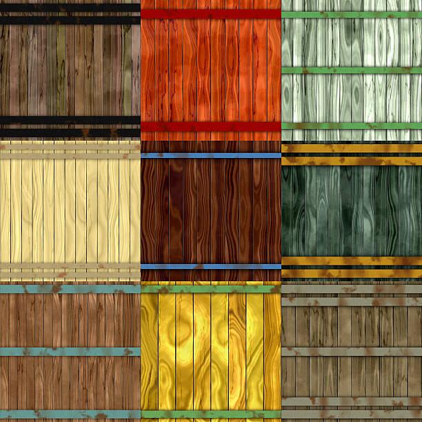 Set of wood barrel generated seamless textures vector art illustration