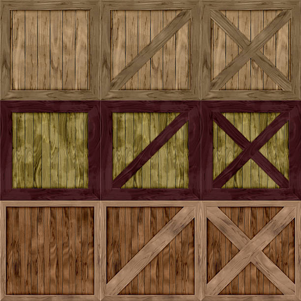 Set of wood crate generated textures vector art illustration