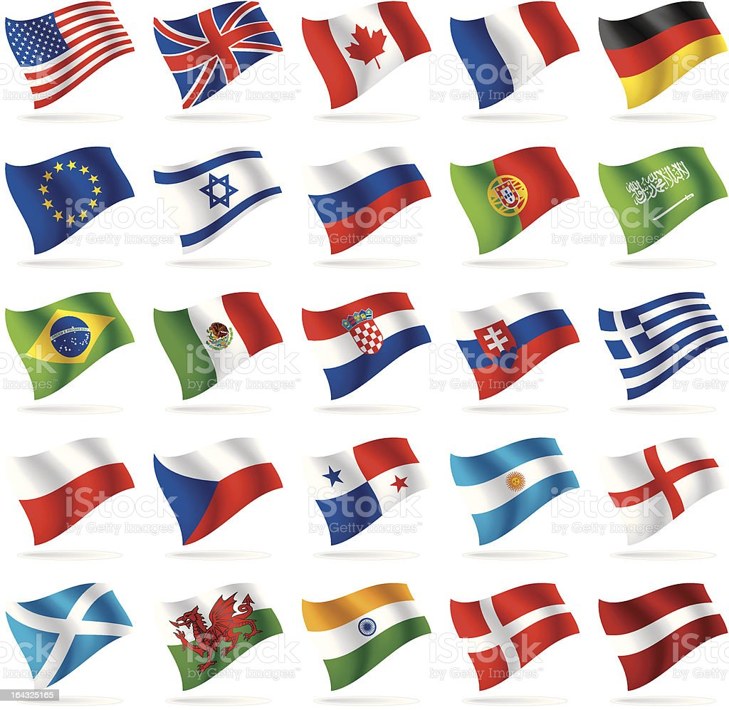 Set of world flags 1 vector art illustration