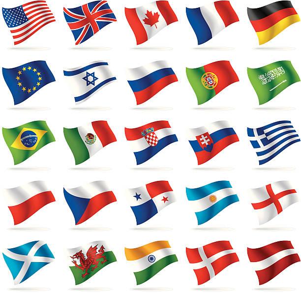 Conjunto de bandeiras do mundo 1 - ilustração de arte em vetor
